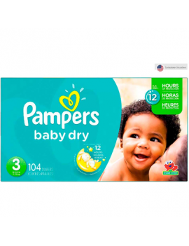 Caja Pampers Baby Dry S3 Super 104Unid