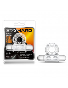 Stay Hard - 10 Function Vibrating Mega Bull Ring - Clear